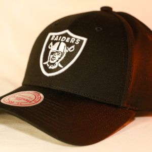 Mitchell & Ness OSFA NFL Oakland Raiders Black & White Flexfit 110 Logo Low Pro Snapback