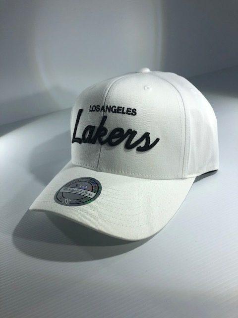 new product 8ab95 ddf02 Mitchell   Ness Flexfit 110 NBA LA Lakers Basic Script Snapback White Men s    Women s