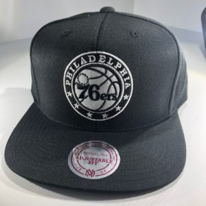 Mitchell & Ness NBA Philadelphia 76ers All Black Logo High Crown Snapback OSFA