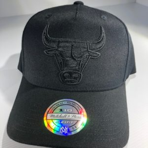 Mitchell & Ness Flexfit 110 NBA Chicago Bulls All Black Logo Snapback OSFA