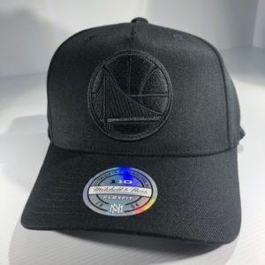 Mitchell & Ness Flexfit 110 NBA Golden State Warriors All Black Logo Snapback OSFA