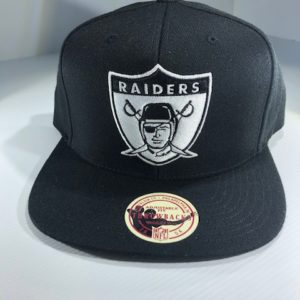 Mitchell & Ness NFL Oakland Raiders All Black & White Logo High Crown Snapback OSFA