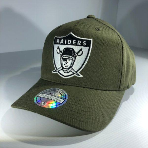 Mitchell & Ness Flexfit 110 NFL Oakland Raiders Olive Logo Snapback OSFA