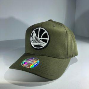 Mitchell & Ness Flexfit 110 NBA Golden State Warriors Olive Logo Snapback OSFA