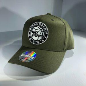 Mitchell & Ness Flexfit 110 NBA Philadelphia 76ers Olive Logo Snapback OSFA