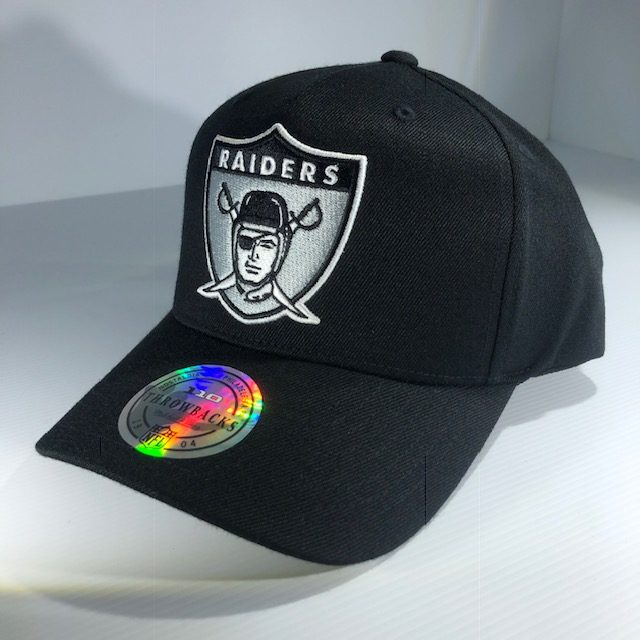 132495ff0 Mitchell & Ness Flexfit 110 Throwback NFL Oakland Raiders Black & Team  Colour Logo Snapback OSFA Men's & Women's